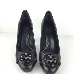 Tory Burch Black Leather Logo Classic Heels 8